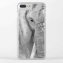 Elephant Photography   Wildlife Art   African   Nature   Animal Photography   Black and White Clear iPhone Case