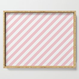 Light Millennial Pink Pastel and White Candy Cane Stripes Serving Tray