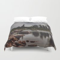 rocky Duvet Covers featuring Rocky Pond by Leah Flores
