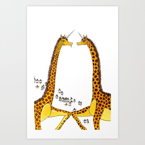 Unicorn Giraffes Dancing with Penguins Art Print