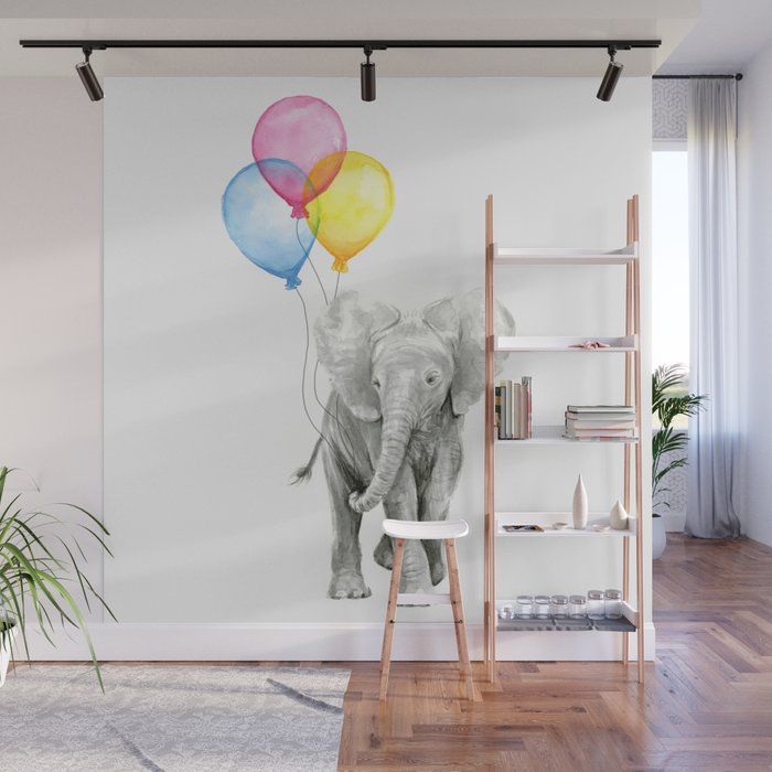 Baby Elephant With Balloons Nursery Animals Prints Whimsical Animal Wall Mural By Olechka