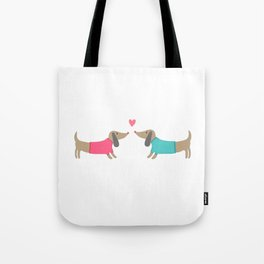 Cute dog lovers in love with heart Tote Bag