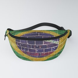 Brazil flag on a brick wall Fanny Pack