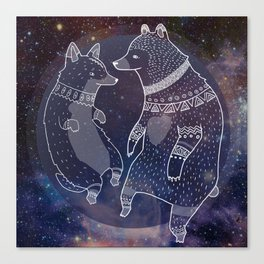 Space Bear Corgi Canvas Print