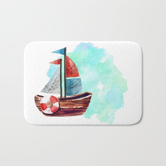 Ship in the Watercolor Bath Mat