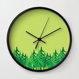 Vector green trees Wall Clock