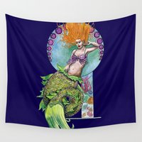 pinup Wall Tapestries featuring Mermaid Pinup by Theresa Lammon