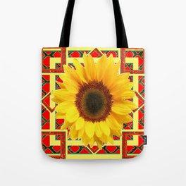 WESTERN RED ART DECO YELLOW SUNFLOWER ART Tote Bag