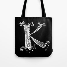 K White on Black Tote Bag