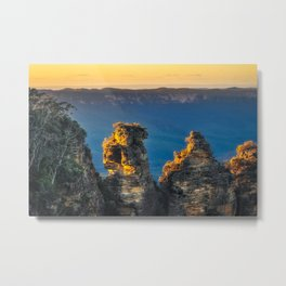 First sunrays in the morning at Three Sisters in Blue, Mountains, Australia Metal Print