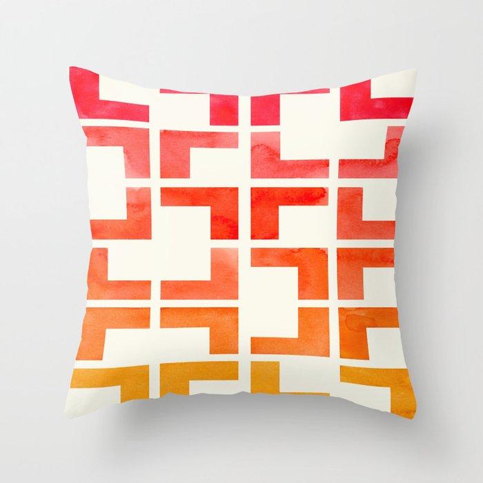 Red Orange Yellow Geometric Mid Century Modern Pattern L Shaped Grid Throw Pillow