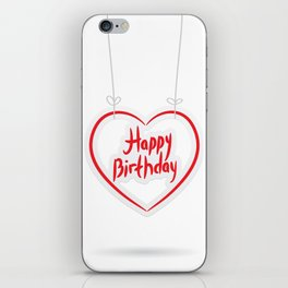 Happy birthday. red paper heart on White background. iPhone Skin