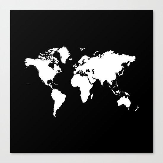 Black white world map Canvas Print