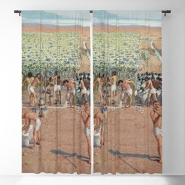 Classical Masterpiece Egyptian Laborers Harvest Grapes by Herbert Herget Blackout Curtain