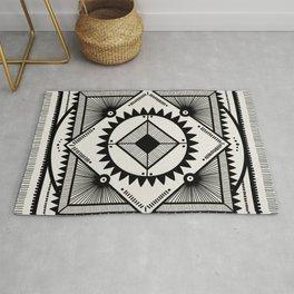 Western tribal square mandala 2- black on neutral Rug