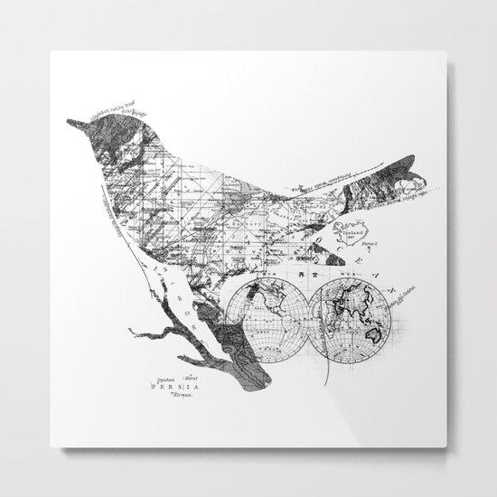 Bird Wanderlust Black and White Metal Print