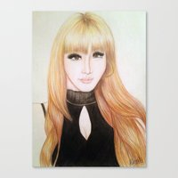 2ne1 Canvas Prints featuring Park Bom (2NE1) by Hileeery