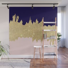Modern navy blue blush pink gold glitter brushstrokes Wall Mural