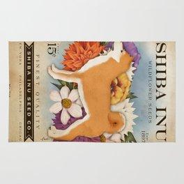 Shiba Inu Seed Company wildflower seed artwork by Stephen Fowler Rug