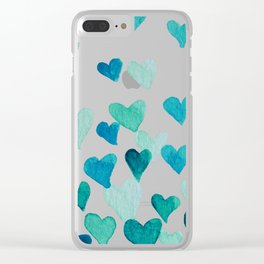 Valentine's Day Watercolor Hearts - turquoise Clear iPhone Case