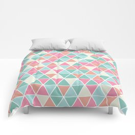 Triangulation (pink and green) Comforters