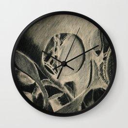 Skull in Scrapyard Wall Clock