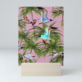 Seagulls and Palm Trees Mini Art Print
