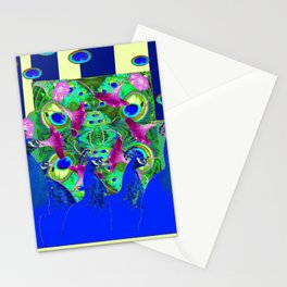 BLUE PEACOCKS & MORNING GLORIES PARALLEL YELLOW PATTERNED ART Stationery Cards