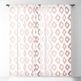 Rose Gold On White Foil Paint Line Dots Stripes Design XI Blackout Curtain