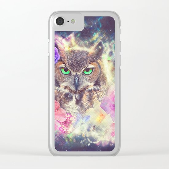 Space Owl with Spice Clear iPhone Case