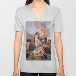 The Birth of Venus by William Adolphe Bouguereau Unisex V-Neck