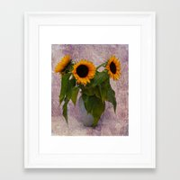 sunflowers Framed Art Prints featuring Sunflowers  by Guna Andersone & Mario Raats - G&M Studi