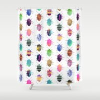 bugs Shower Curtains featuring Pretty Bugs by Elisabeth Fredriksson