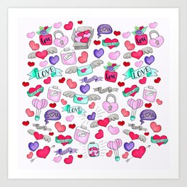 Lovely doodle drawing Valentine's Day gift Art Print
