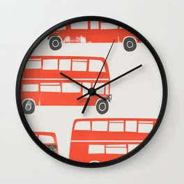 London Double Decker Red Bus Wall Clock