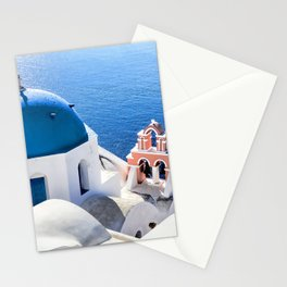 Blue and white church in Oia village, Santorini, Greece Stationery Cards