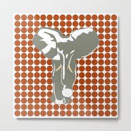 Rust Red Safari Dot with Pop Art Elephant Metal Print