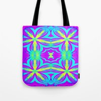 psychedelic art Tote Bags featuring psychedelic Floral Fuchsia Aqua by 2sweet4words Designs