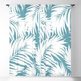 Palm Tree Fronds White on Soft Blue Hawaii Tropical Décor Blackout Curtain