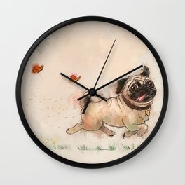The Furminator pug watercolor like art Wall Clock