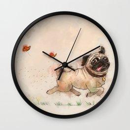 The Furminator pug watercolor like art Wall Clock
