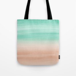 Touching Soft Emerald Beige Watercolor Abstract #1 #painting #decor #art #society6 Tote Bag