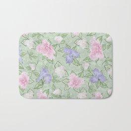 Flower Play Pink Lavender Green Antique Look Bath Mat