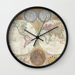 Samuel Dunn Wall Map of the World in Hemispheres c.1794 Wall Clock