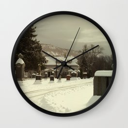 Mt. Tom in the snow Wall Clock