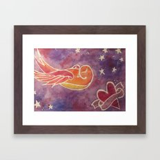 Heart and Swallow Framed Art Print