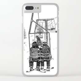 Snow Lift // Ski Chair Lift Colorado Mountains Black and White Snowboarding Vibes Photography Clear iPhone Case
