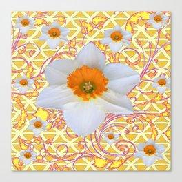 WHITE DAFFODILS DELICATE VIOLET SCROLLS ART  PATTERN Canvas Print