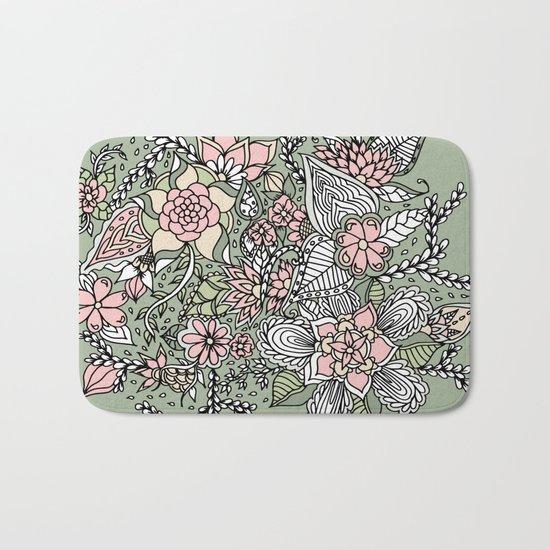 Modern green pink floral handdrawn pattern Bath Mat
