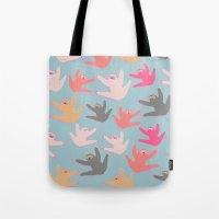 sloths Tote Bags featuring Cute sloths pattern by Darish